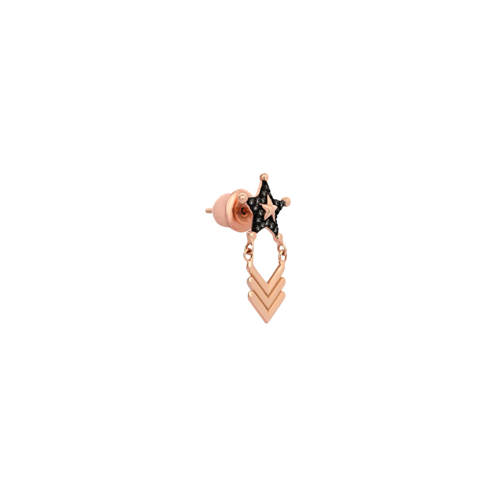 Sheriff Star and Chevron Earring (Single) - Black Diamond