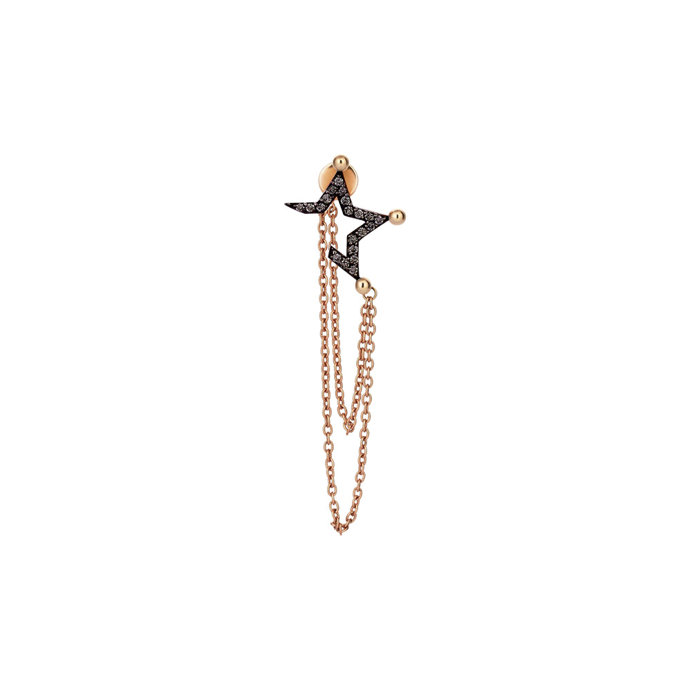 Half Star Stud With Chain (Single) - Black Diamond