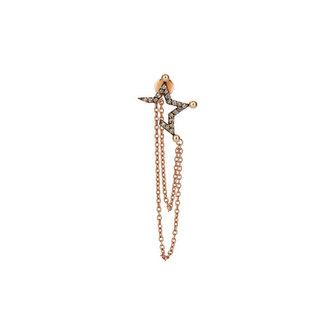 Half Star Stud With Chain (Single)- Champagne Diamond