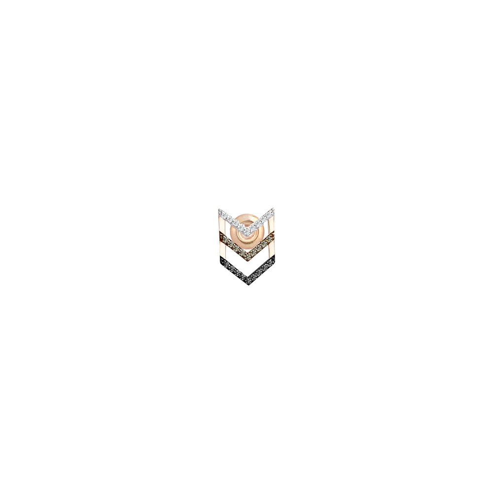 Triple Chevron Single Stud Earring (Single) - Multi-Diamond