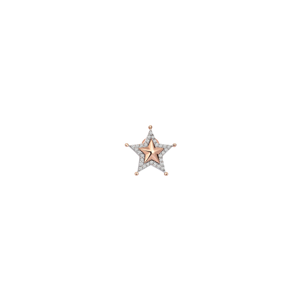 Sheriff Star Earring (Single) - White Diamond