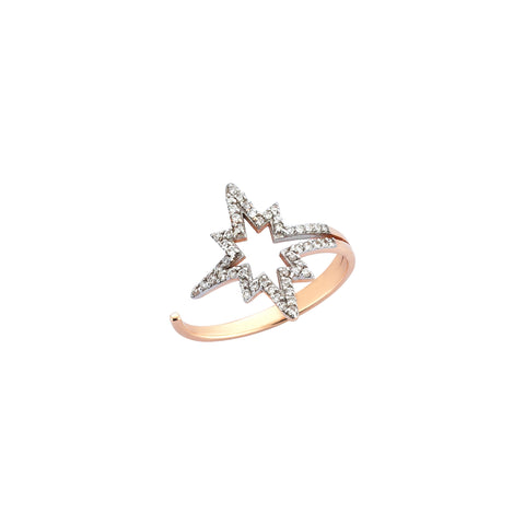 K Horizontal Star Ring - White Diamond
