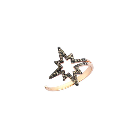 K Horizontal Star Ring - Champagne Diamond