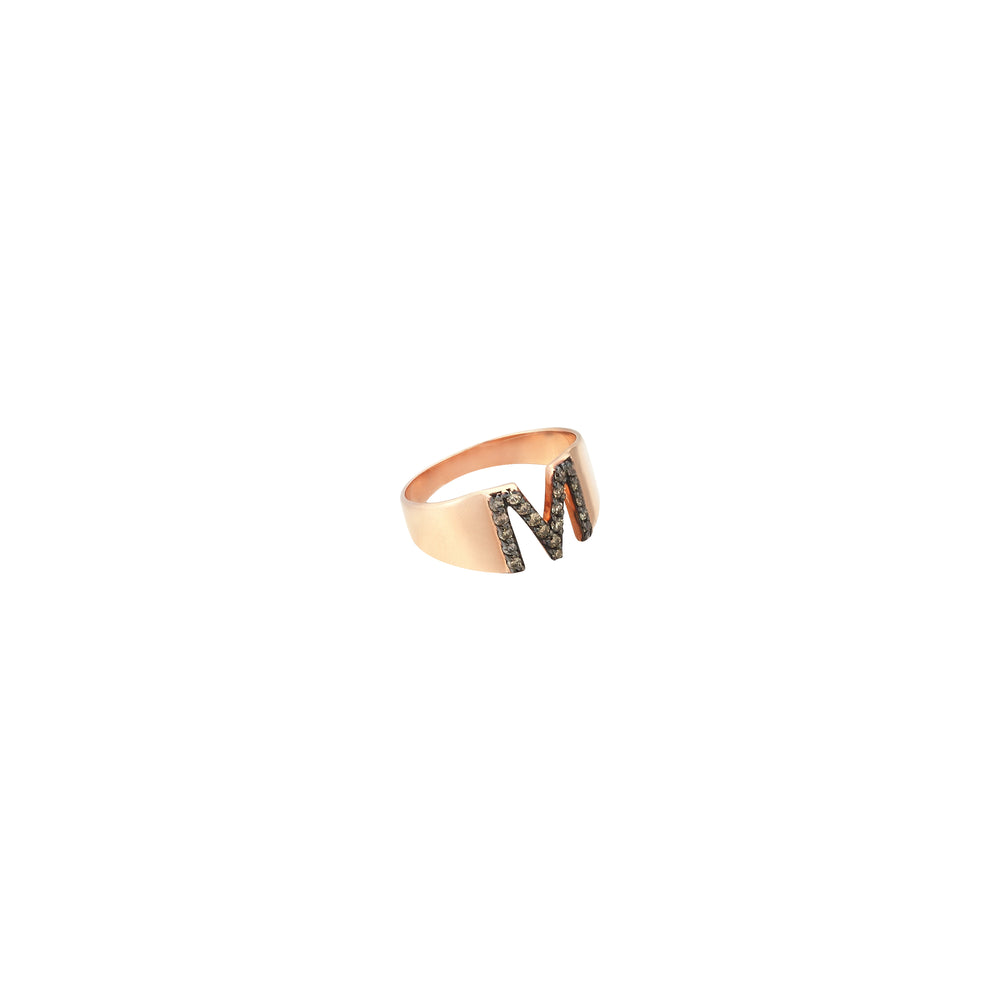 M Mini Ring - Champagne Diamond
