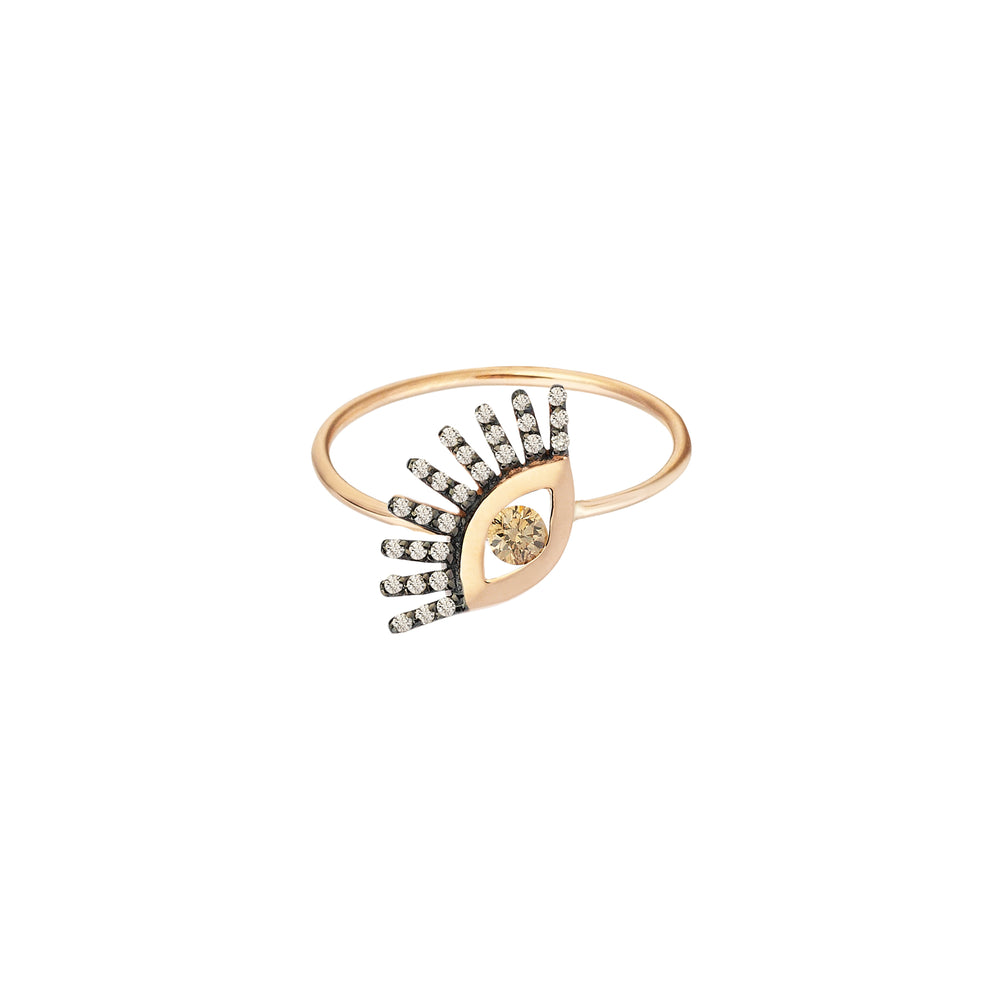 Big Evil Eye Ring - Champagne Diamond