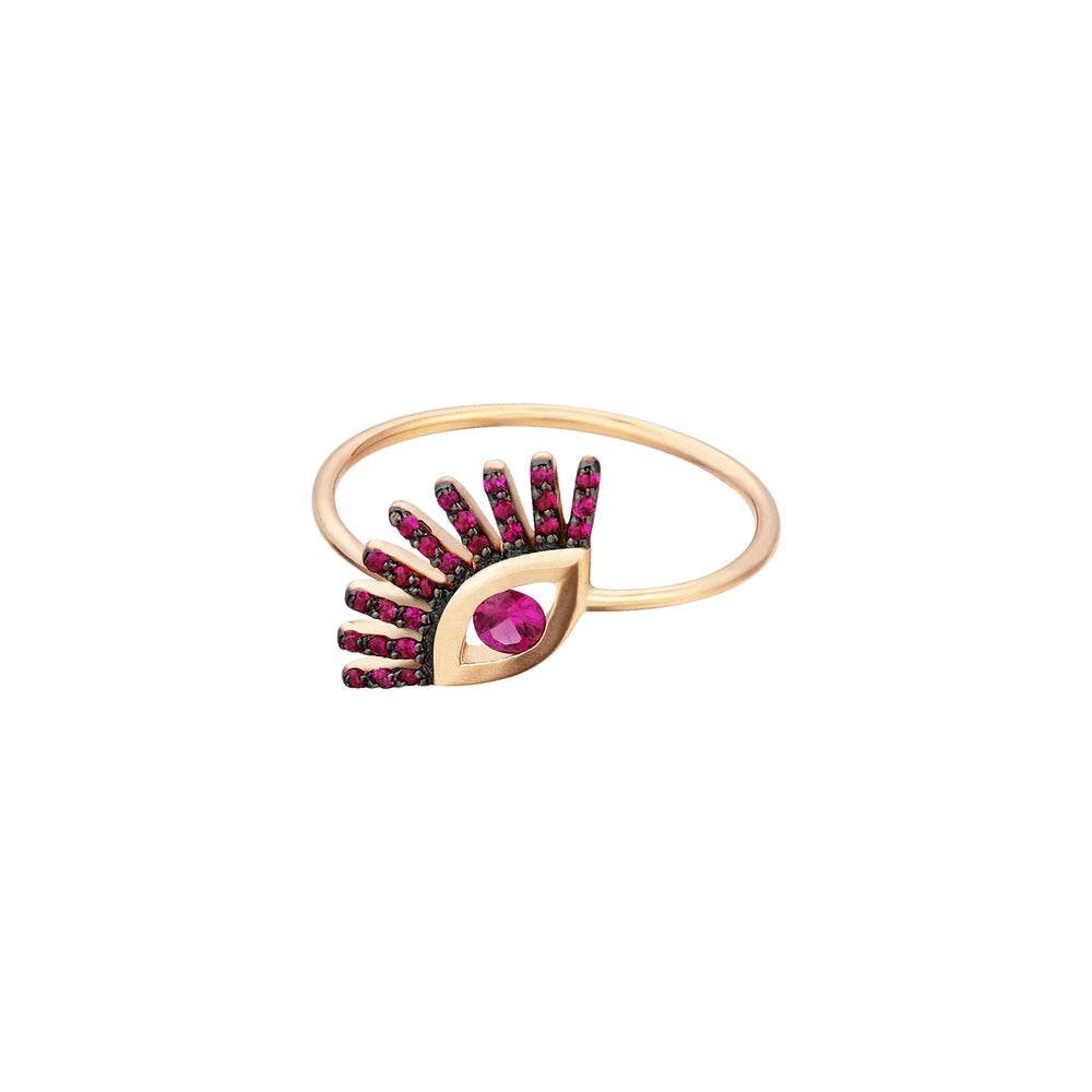 Big Evil Eye Ring - Ruby