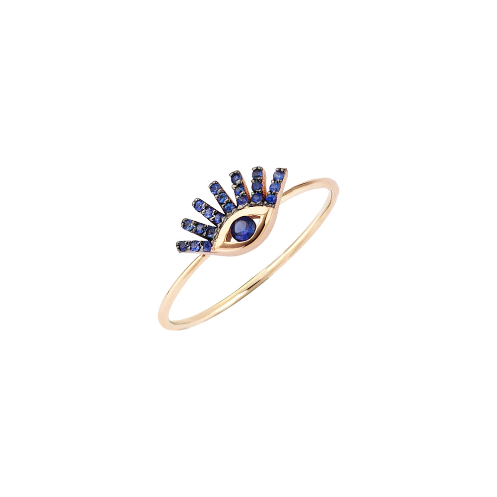 Small Evil Eye Ring - Sapphire