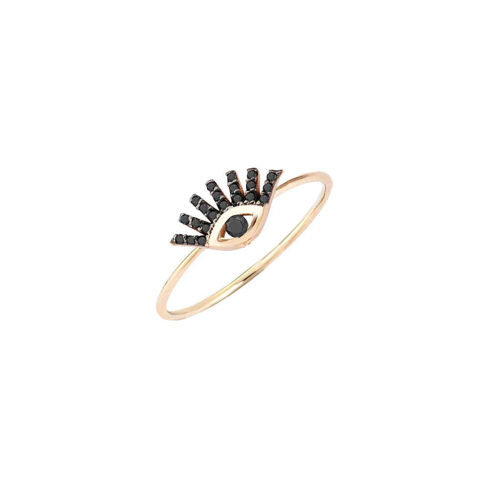 Small Evil Eye Ring - Black Diamond