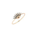 Small Evil Eye Ring - Champagne Diamond