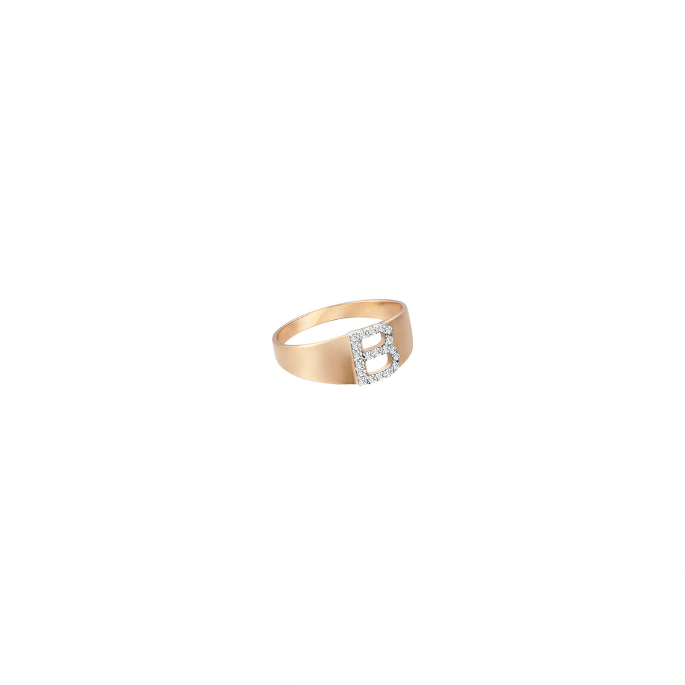 B Mini Ring - White Diamond