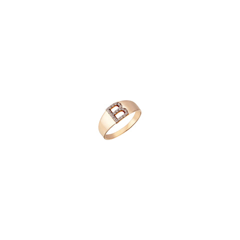 B Mini Ring - Champagne Diamond