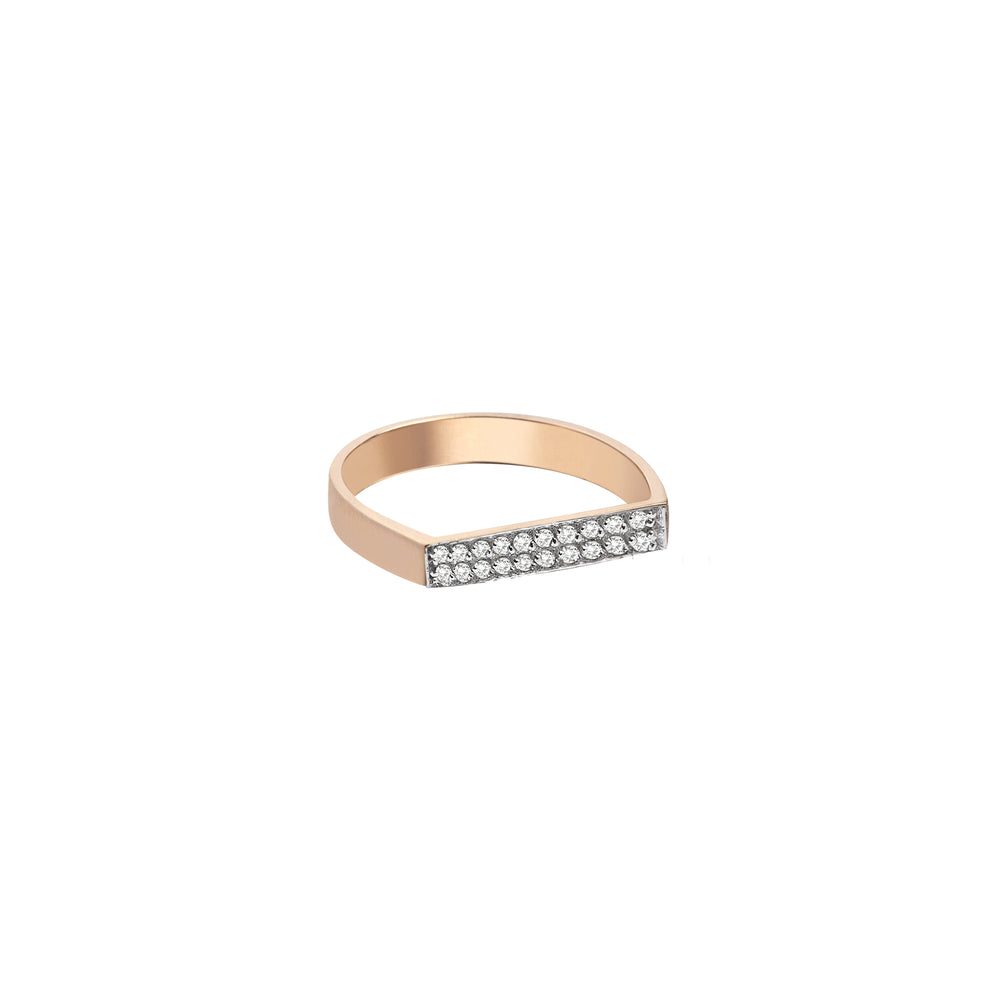 Flat Rectangle Thin Ring - White Diamond