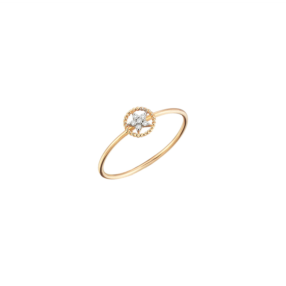 Rounded Sheriff Star Ring - White Diamond