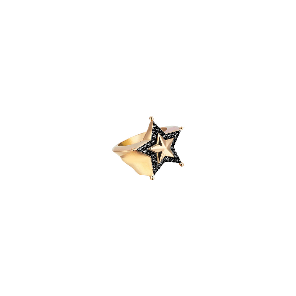 Sheriff Star Ring - Black Diamond