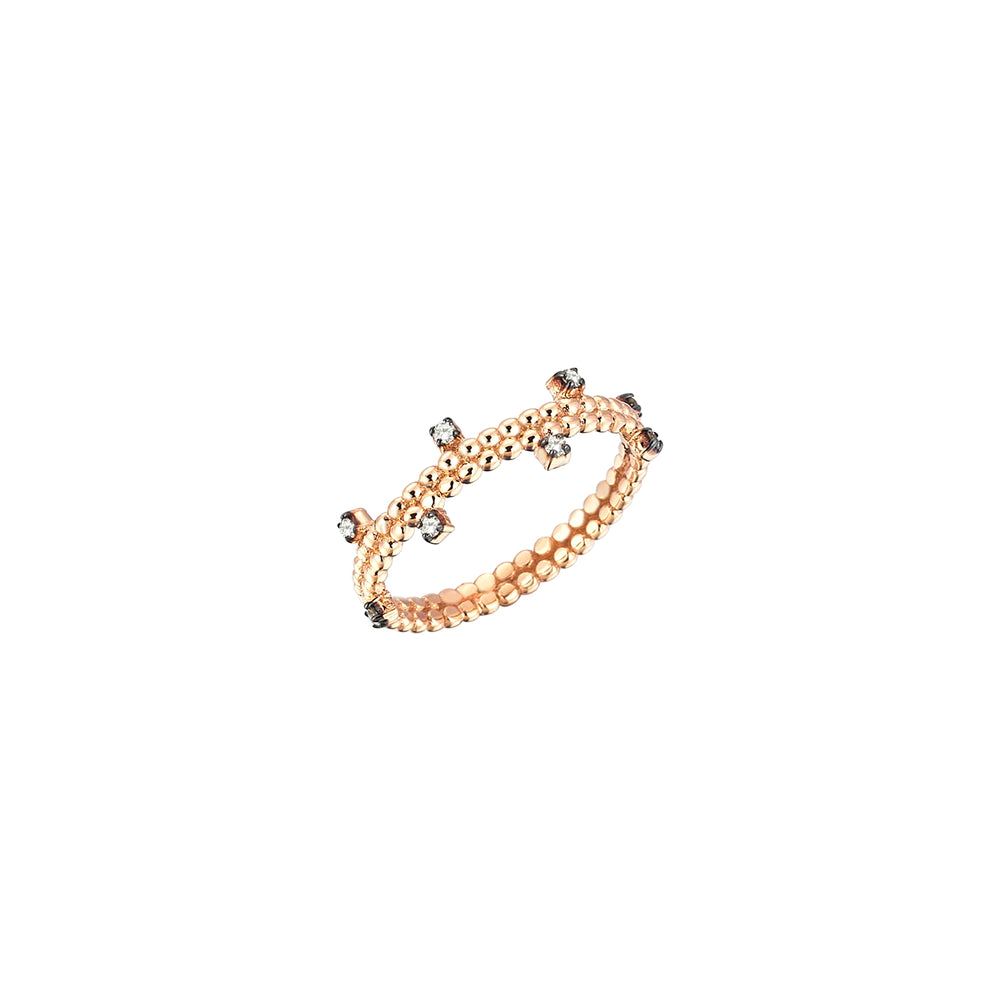 Beads Ball Ring - Champagne Diamond