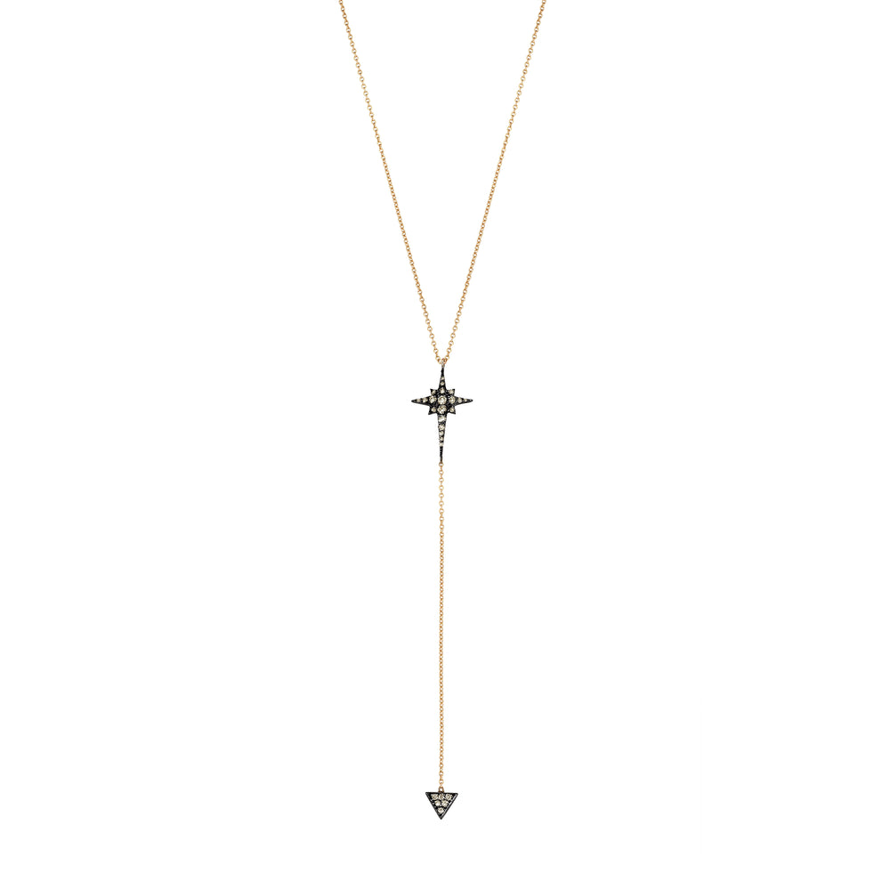 Kismet Star Lariat Necklace - Champagne Diamond