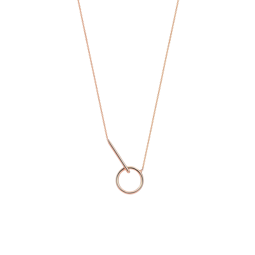 Vertical Bar And Circle Necklace