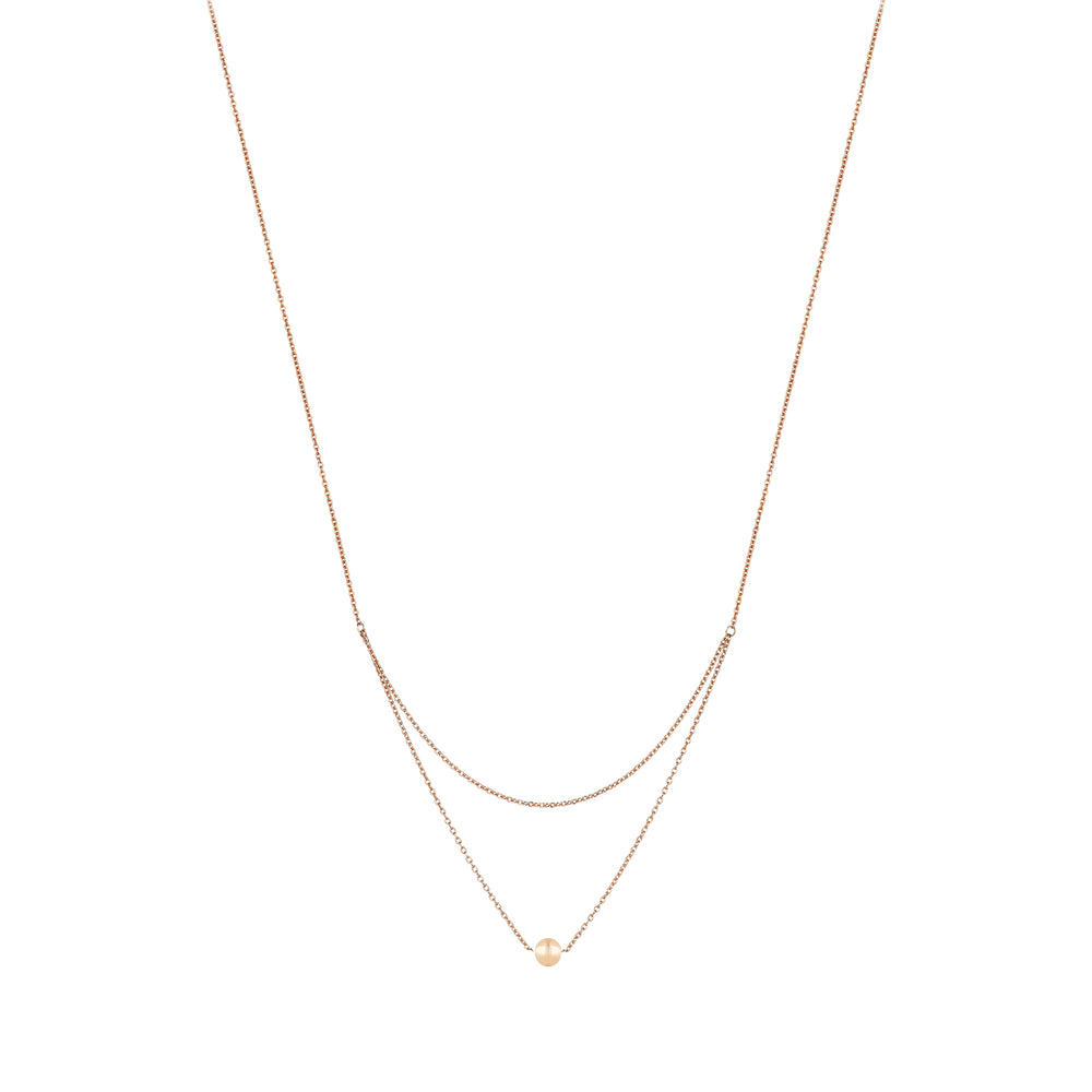 2 Chain Ball Necklace - Gold