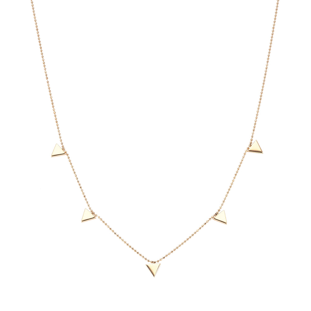 5 triangle necklace - Gold