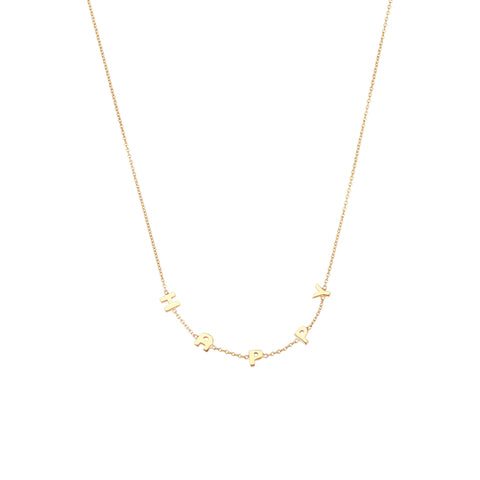 Big HAPPY Necklace - Gold