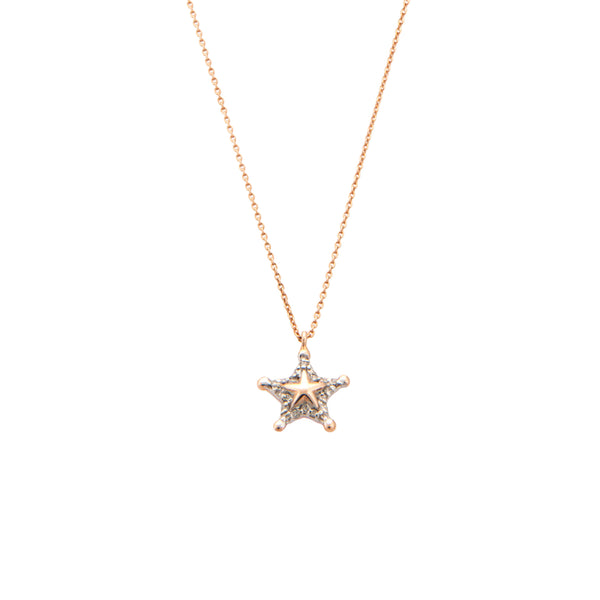 Sheriff Star Necklace - White Diamond