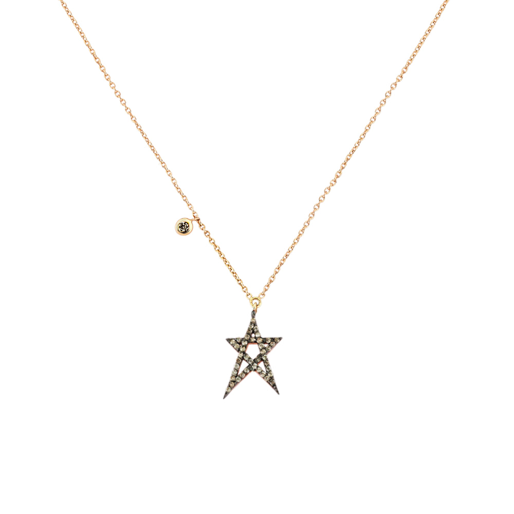 Struck Doodle Star Solitaire Dangling Necklace