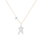 Struck Doodle Star And Mini Star On Chain Necklace