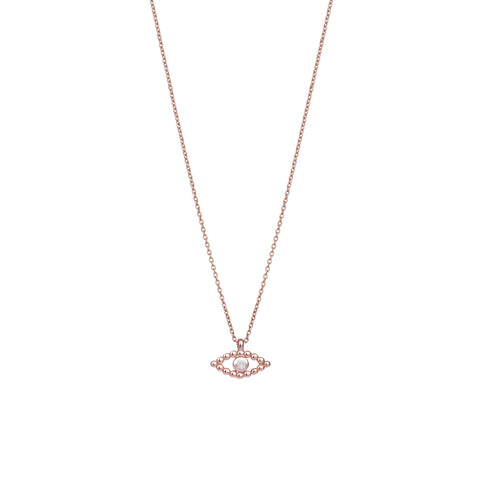 Ball Evil Eye Small Necklace - White Diamond