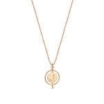 Initial Medallion Necklace With Single Solitaire