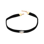 Evil Eye Black Velvet Thick Choker - White Diamond