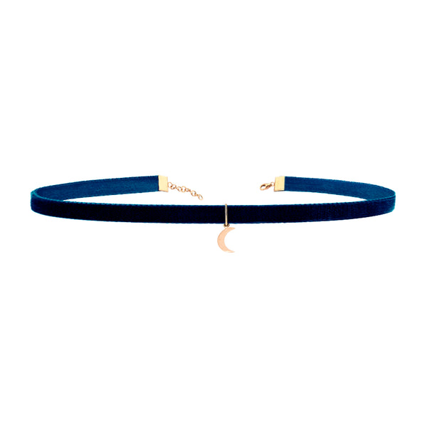 Moon Navy Thin Velvet Choker