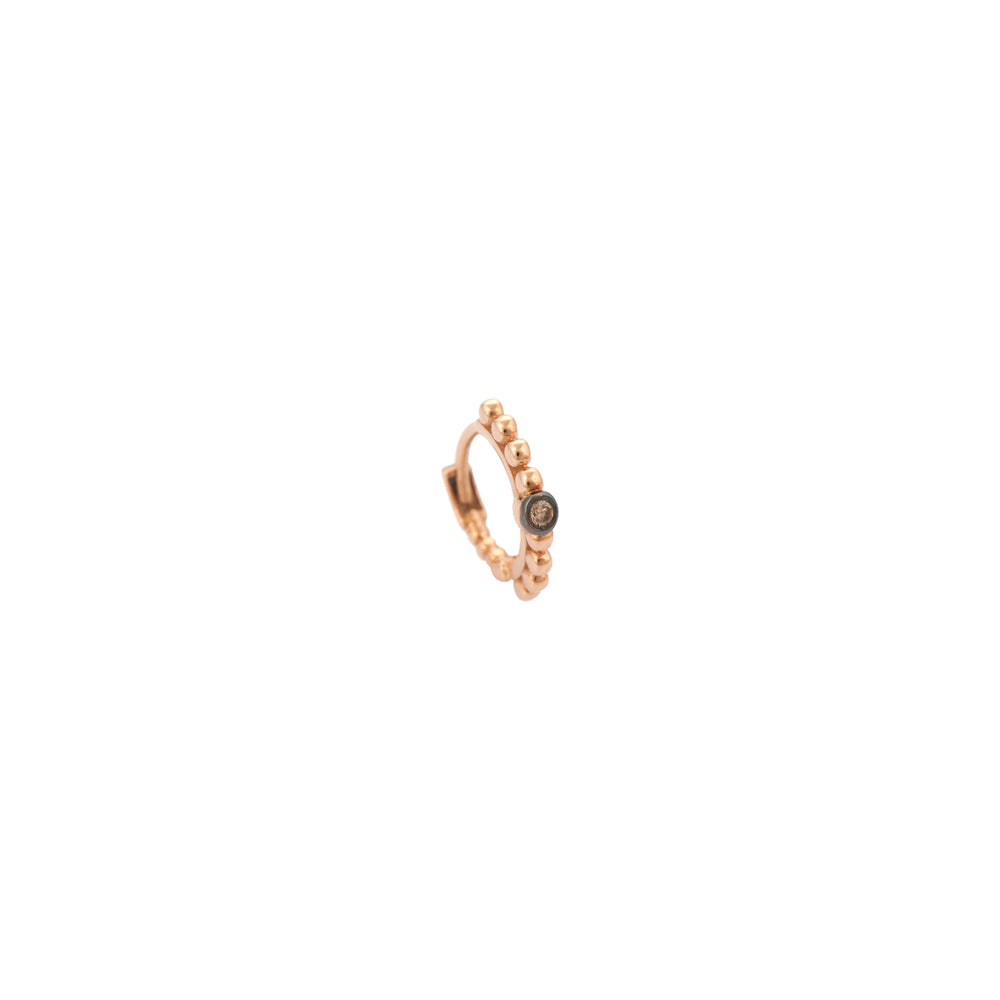 Ball Beaded Solitaire Tiny Hoop Cognac (Single) - Champagne Diamond