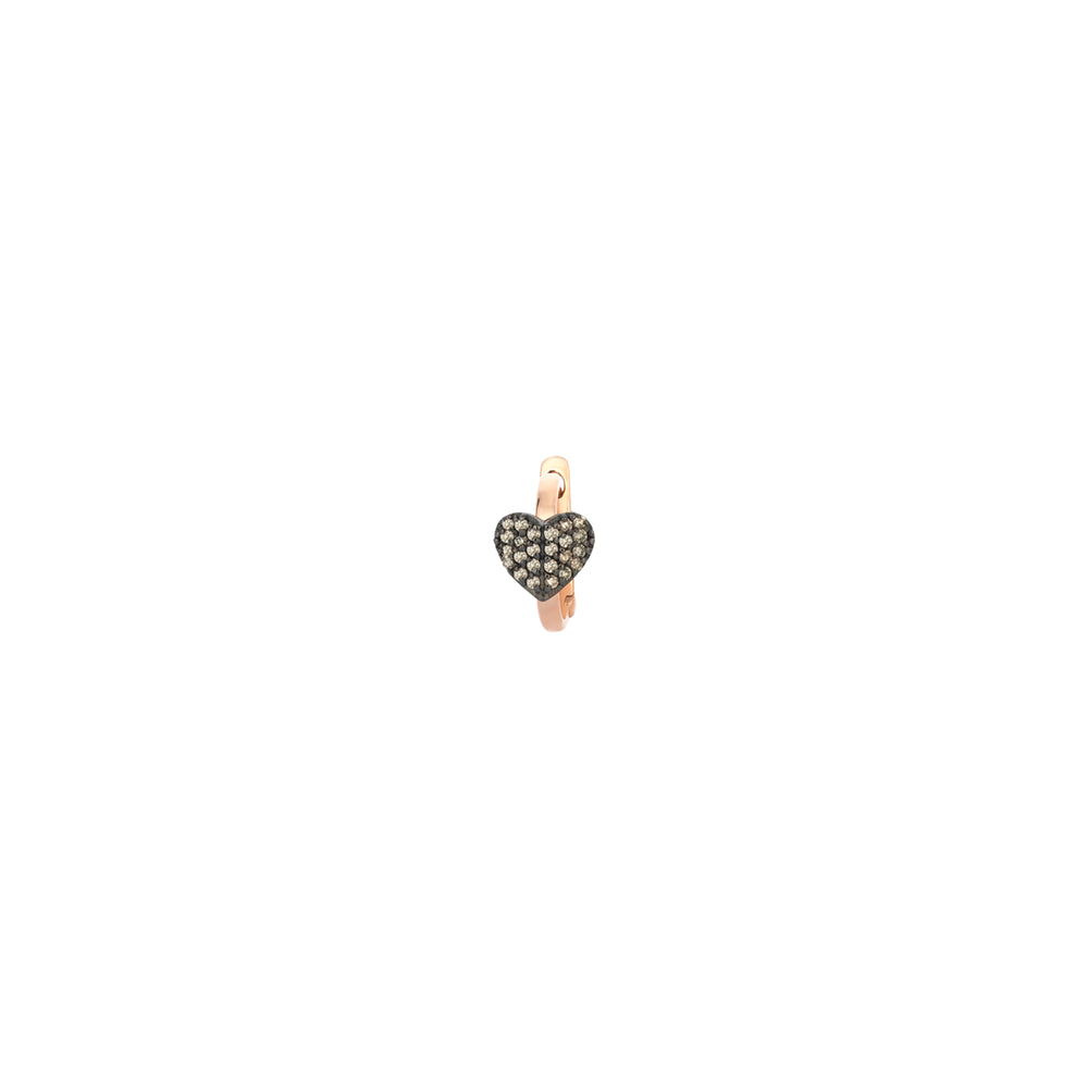 Tiny Folded Heart Huggie Hoop (Single) - Champagne Diamond