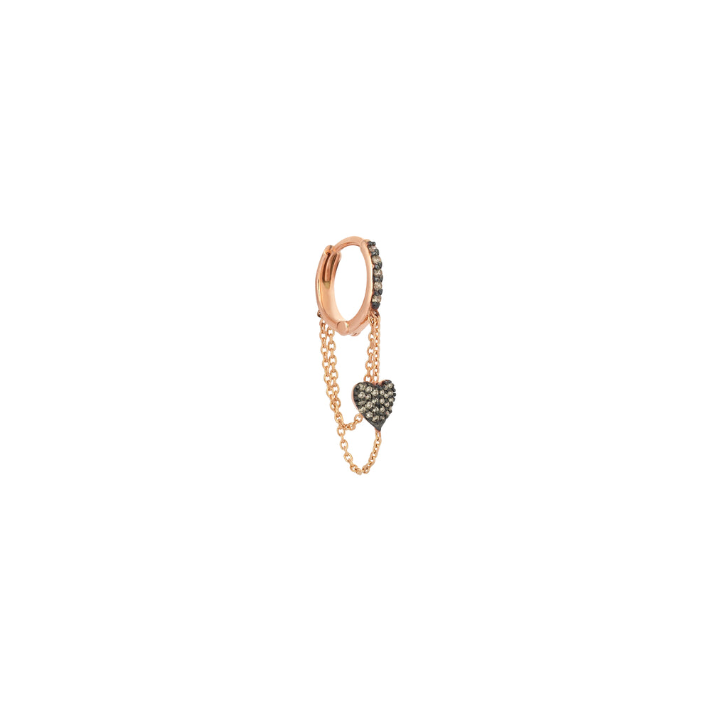 Chainy Hoop with A Dangling Heart Earring (Single) - Champagne Diamond