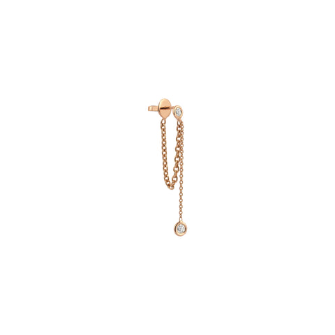 2 Solitaires Chain Earring (Single)- White Diamond