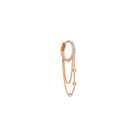 3 Solitaires Dangle Double Chain Hoop (Single) - White Diamond