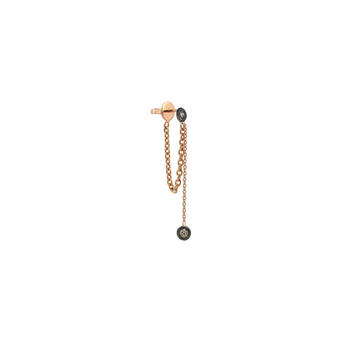 2 Solitaires Chain Earring (Single) - Champagne Diamond