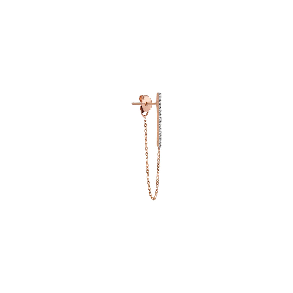 Vertical Bar Chain Front Back Earring (Single)