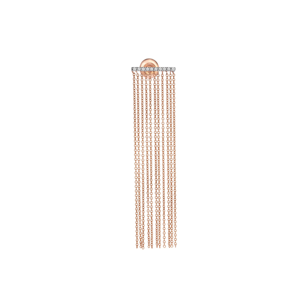Horizontal Bar Chain Fringe Earring (Single)