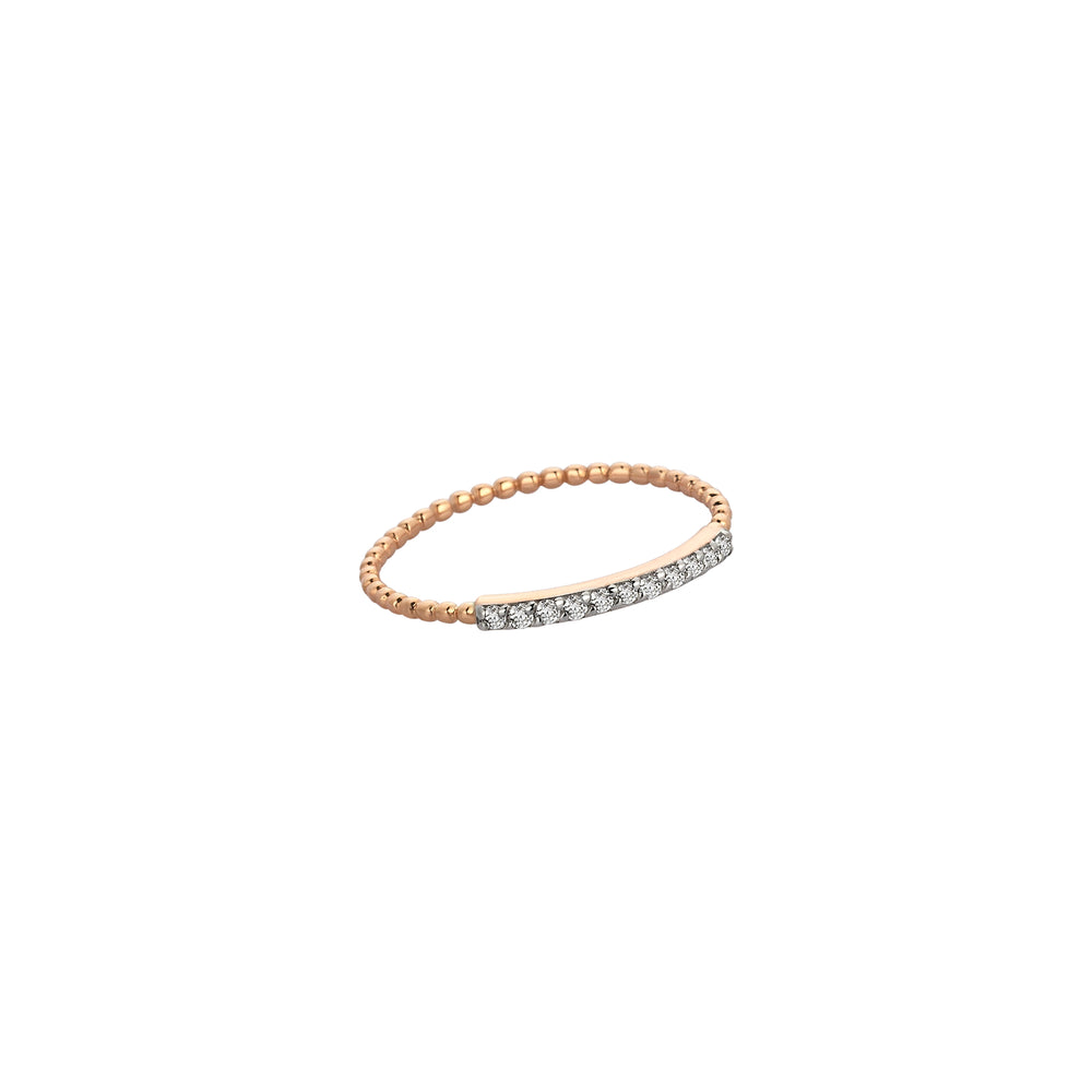 Beaded Band Pave Bar Ring - White Diamond
