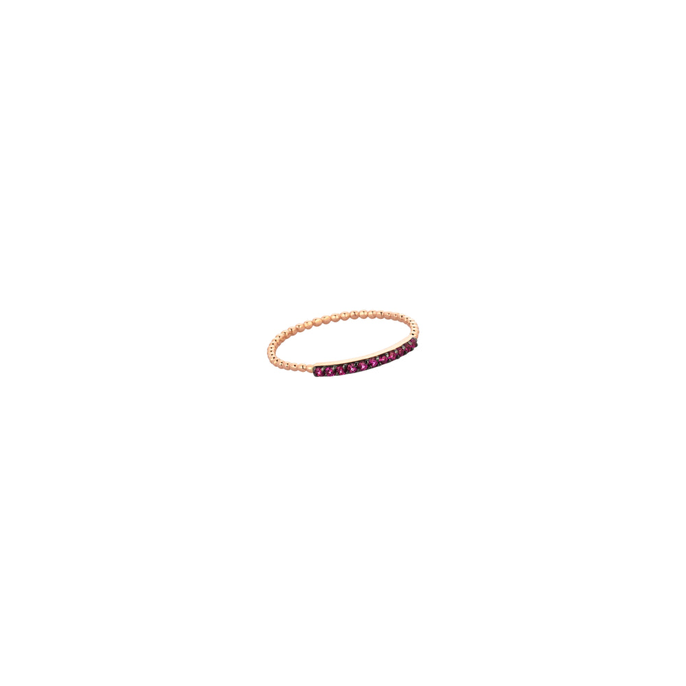 Beaded Band Pave Bar Ring - Ruby