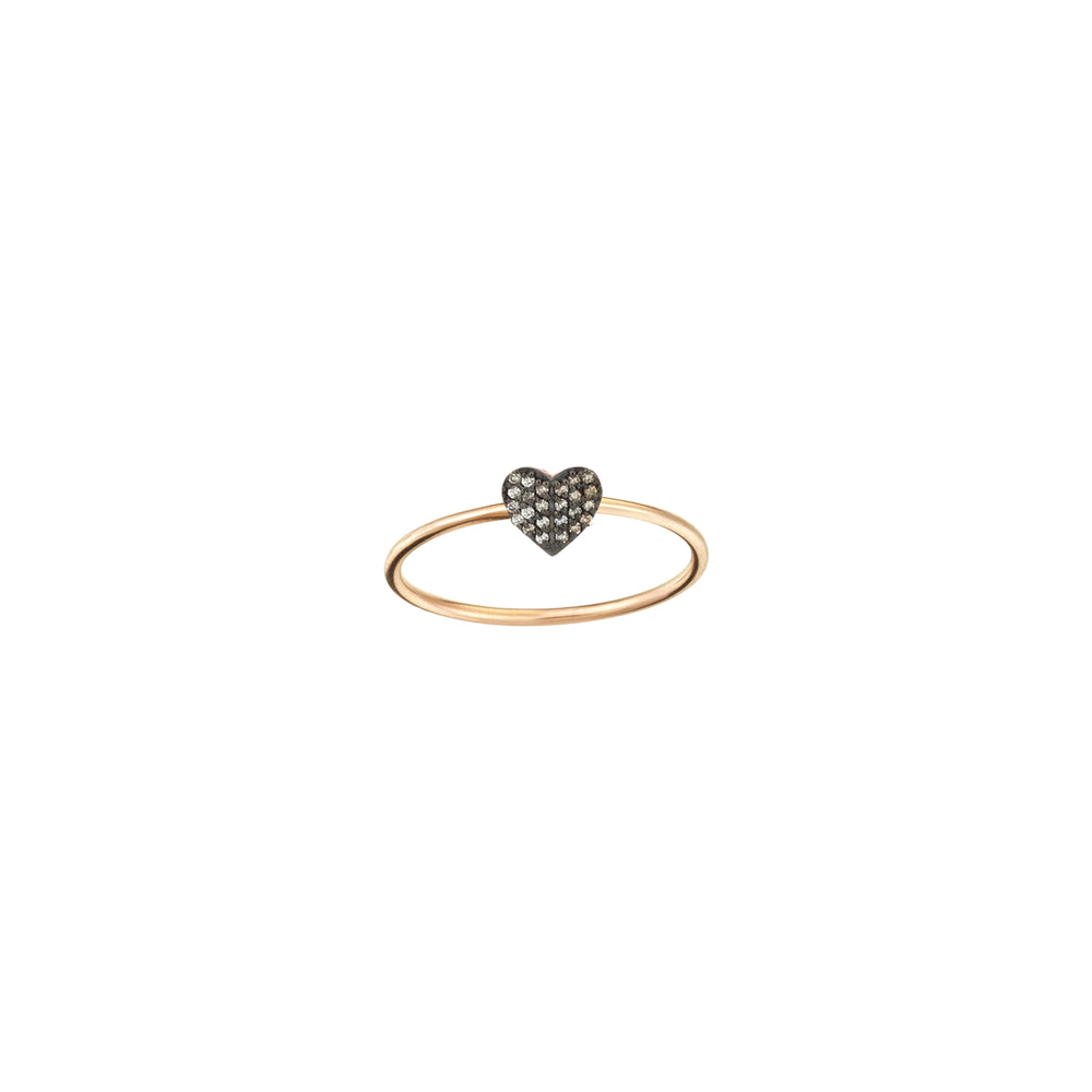 Tiny Folded Heart Ring - Champagne Diamond