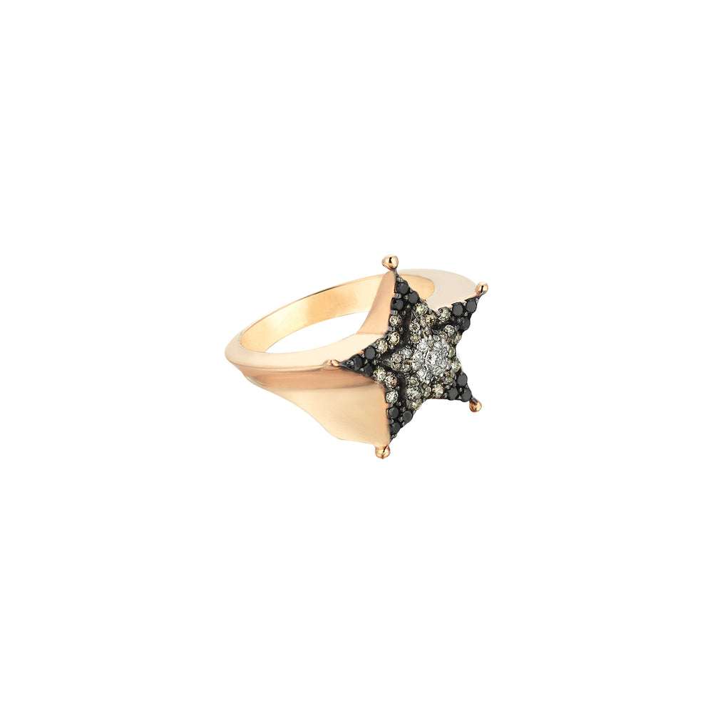Sheriff Star Ring - Multi-Diamond