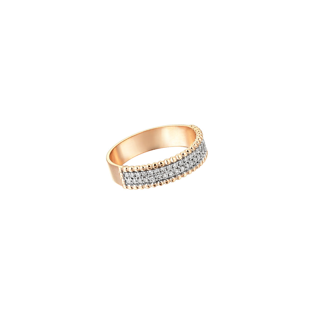 Two Rows Half Eternity Band - White Diamond