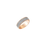 Three Rows Half Eternity Band - White Diamond
