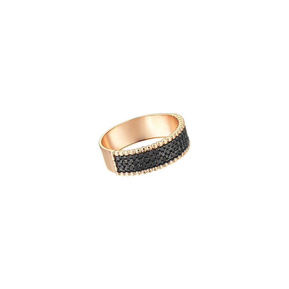 Three Rows Half Eternity Band - Black Diamond