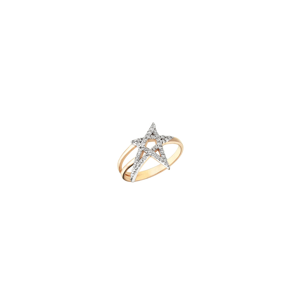 Struck Doodle Star Pinky Ring - White Diamond