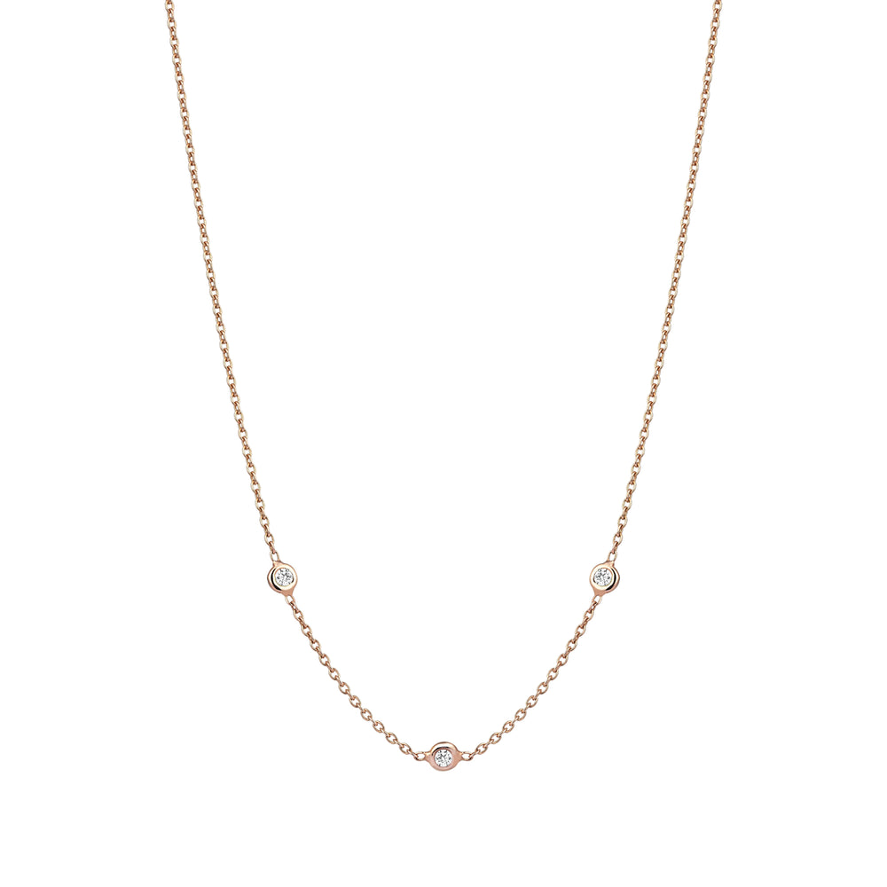 3 Solitaire Chain Choker - White Diamond