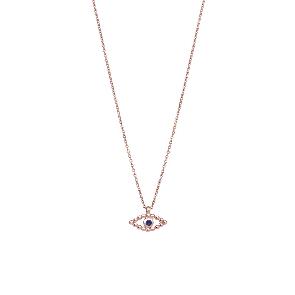 Ball Evil Eye Small Necklace - Sapphire