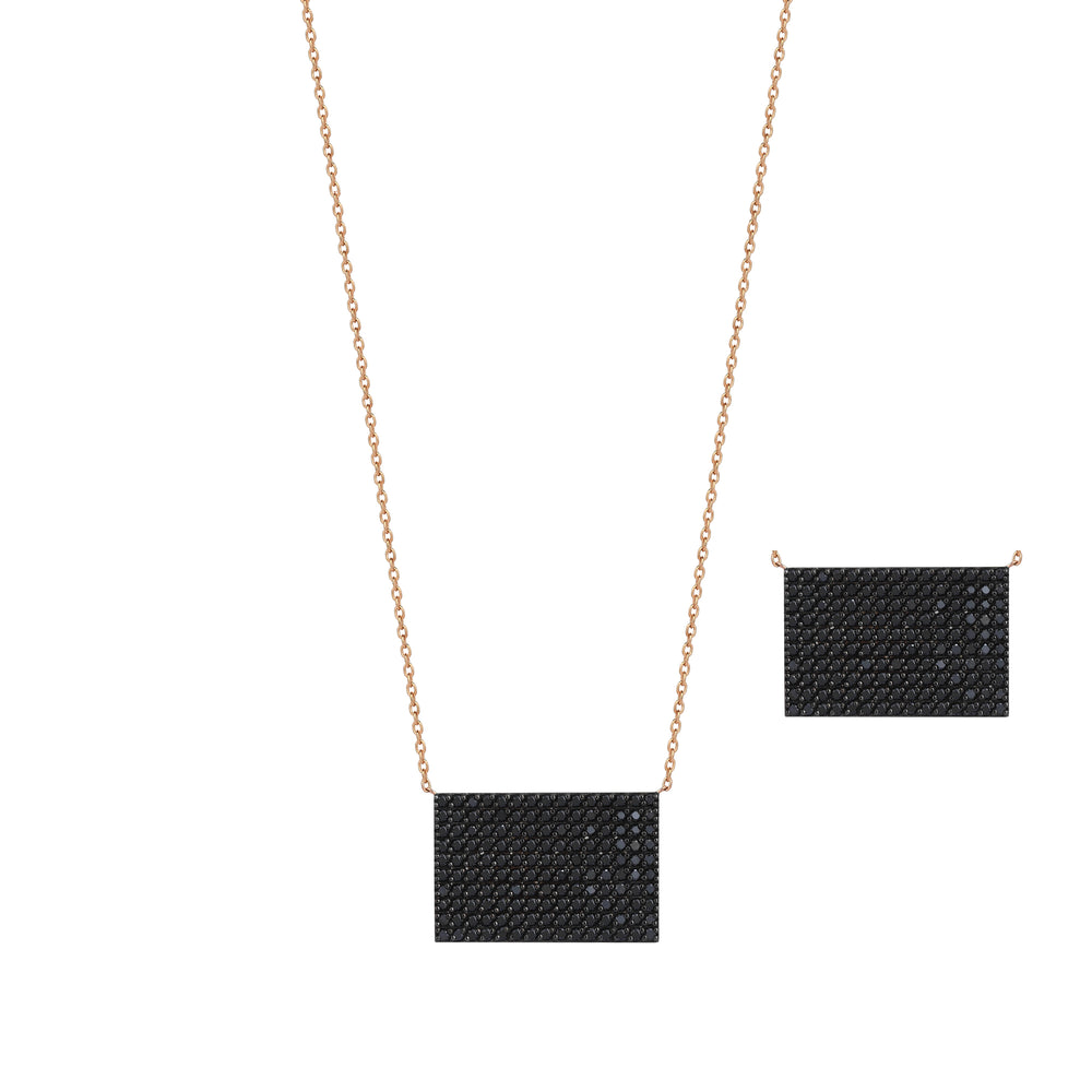Rectangle Pave Small Size Necklace